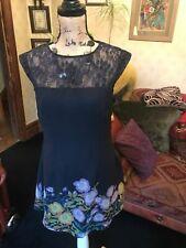 GEORGE G21 Ladies Black Floral Chiffon Lace Floaty Sleeveless Midi  Dress UK 12