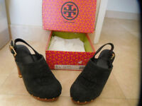 Authentic Tory Burch Perforated Black Suede Mules , Size 8.5 Brand New