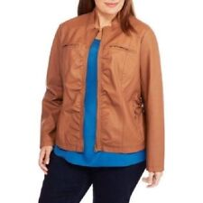 NEW WOMENS PLUS SIZE 4X COGNAC  MOTO MOTORCYCLE JACKET WITH 4 FRONT POCKETS