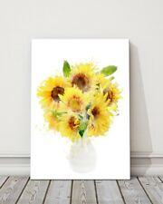painting watercolour vase of yellow sunflowers printed framed canvas picture