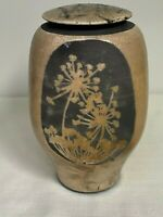 Dennis Kirchmann Studio Raku Pottery Covered Vase Vessel IU Indiana Art Pottery