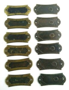 Vintage Furniture Dresser Escutcheon Backplate Cover Accent Lot Of 12 Brass Wood