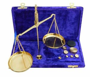 Vintage Gold Brass jewellery Scale With Velvet Box & Complete Set Weight Balance