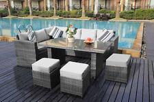 Yakoe Conservatory 6 Seater Rattan Garden Furniture Dining Set Light Grey RRP599