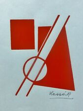 "LAJOS KASSAK ""Composition""  color woodcut Hand signed Hungarian Artist Kassák"