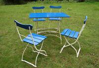 4 x alter Biergartenstuhl und Tisch Gartenstuhl Klappstuhl Stuhl Eisengestell