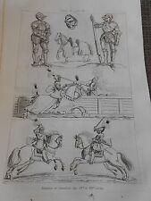 Gravure 1841 - Costume du XVIè Un chevalier La Double Mort d'après Lucas Cranach