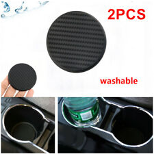2Pc Carbon Fiber Look Car Dashboard Water Cup Slot Non-Slip Mat Coaster Washable