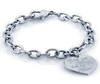 Bracciale catena con cuore Argento 925 sterling rodio donna regalo gioielli