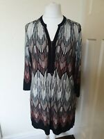 Roman Abstract Retro Tunic Slip Dress Top Size 14