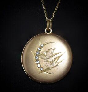 STUNNING ANTIQUE Victorian GF JEWELED Twin BIRD Crescent Moon PENDANT Necklace