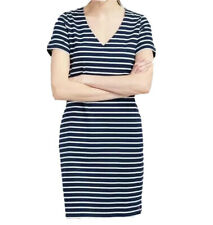 Joules Womens Riviera V Neck Jersey Dress - Navy Cream Stripe UK Size 12