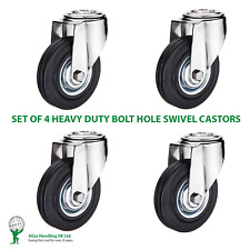 More details for 4 x heavy duty 100mm / 180kg black rubber wheel on swivel bolt hole castors