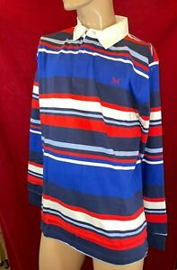 BNWT CREW CLOTHING Men's Multi Stripe, Long Sleeve, Rugby Polo Shirt. Size UK L