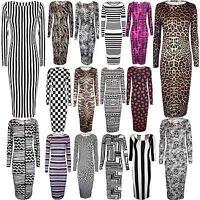 New Ladies Animal Floral Snake Zebra Print Long Sleeve Bodycon Womens Midi Dress