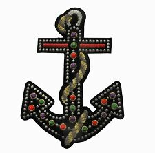 "#2260 6-3/8"" Gem Anchor,Gold Rope Marine Embroidery Iron On Applique Patch"