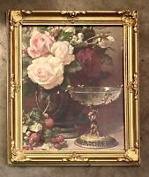 Vintage Gold Framed Still Life Print Pink Roses Strawberries Cupid Glass Compote