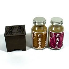 Set of Chinese Copper Archaize Brass Burner With Incense Powder Agar &Sandalwood