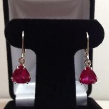 925 Sterling Silver Ruby Gemstone Natural Certified 4 Ctw Antique Earrings
