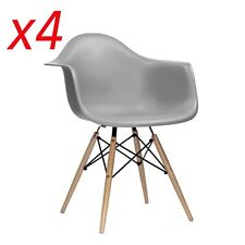 4 x Grey Dining Armchairs Eiffel inspired Contemporary ABS PP seat Wooden Legs