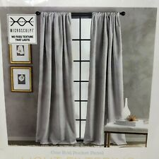 CHF Bloomsbury 95-in Grey Polyester Light Filtering One Rod Pocket Panel Curtain