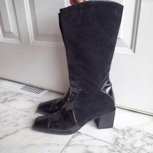 STUART WEITZMAN Women's Black Suede Mid-Calf Block  Heel Boots SZ 7 b