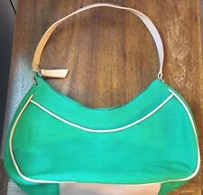 New Etienne Aigner Jute And Cotton W Leather Trim Crescent Shoulder Bag Green