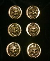 """Vintage LOT of (6) Embossed LION HEAD Goldtone or Brass Tone BUTTONS - 1 1/8"""""""