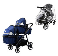 Blue Baby Boy Pram System & In Line Tandem Lightweight + Second Seat + Raincover