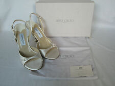 NEW JIMMY CHOO Ladies IVORY Silk Satin Shoes ELAN Heels BRIDAL UK 8 EU 41
