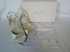 NEW JIMMY CHOO Ladies IVORY Silk Satin Shoes ELAN Heels BRIDAL UK 8 EU 41