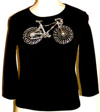 MICHAEL SIMON RARE BICYCLE BEADED TOP PULLOVER SWEATER S SMALL BIKE