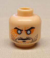 NEW Lego Minifig Head w/ Beard Stubble Cleft Chin Evil Eyes Light flesh