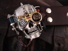 Handmade Tin Alloy Skull Punk Men Belt Buckles Cowhide Genuine Leather Nice Gift