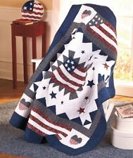 AMERICAN FLAG QUILTED THROW : RED WHITE BLUE STAR COUNTRY GREAT AMERICA BLANKET
