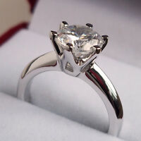 2.0 Carat Diamond Solitaire Ring Size J K L M N Platinum Finished Never Tarnish