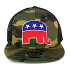 Republican Elephant Patch Camo Snapback Mesh Flatbill Baseball Cap - FREESHIP