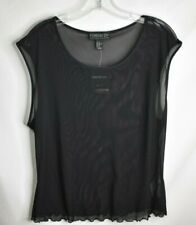 Forever 21 Sheer Mesh Black Short Sleeve Knit Top 2X Plus Size NWT