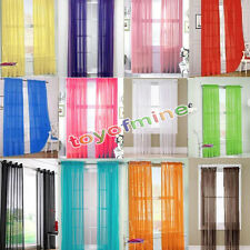 2 X Valances Tulle Voile Door Window Curtain Drape Panel Sheer Scarf Divider