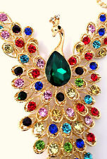 Rhinestone Peacock Necklace Gold Tone Segmented 69 RS Lrg Faceted Green Center