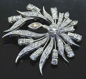 Heavy Platinum 5.54CT diamond floral cluster pendant w/ 1.0CT center stone