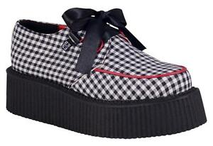 T.U.K A8122 Black / White Gingham D-Ring red Piping Mondo Sole