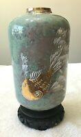 Vintage Japanese Ceramic Vase Mottled Celadon Hand-Painted on Wood Base