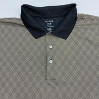 George Polo Shirt Men's 2XL XXL Short Sleeve Tan Black Argyle 100% Polyester