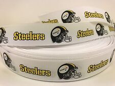 "By The Yard 1"" White Steelers Football Grosgrain Ribbon Lisa"