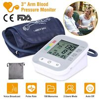 """3""""LCD Automatic Upper Arm Blood Pressure Monitor BP Gauge Voice Broadcast 2 User"""