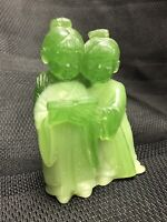 "Vintage Jade Carving Statue Figurine Girls Reading Prayer Book 4"" Tall"