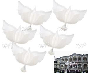 5 Pcs White Flying Dove Model Helium Balloons Wedding Party Celebration Decors