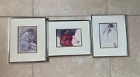"Set of 3 Vintage Navajo Artist RC GORMAN Print Lithograph Framed 11"" x 9"" signed"