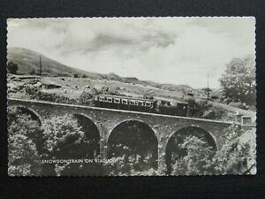 Wales SNOWDON TRAIN on VIADUCT c1950s RP Postcard by Valentine